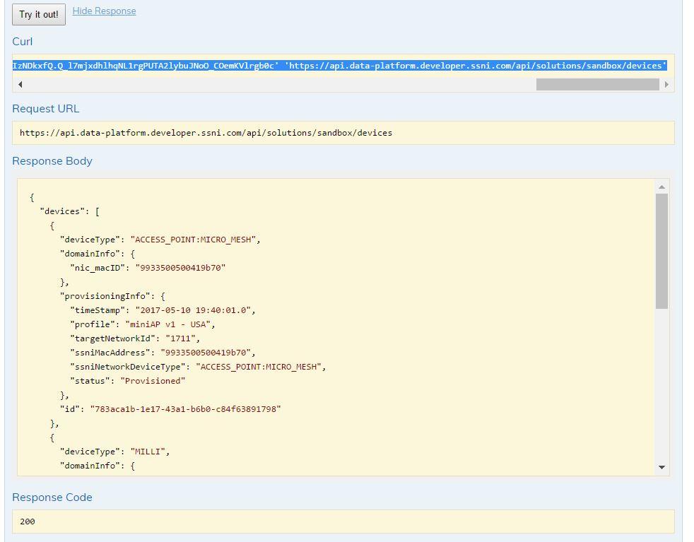 Data Platform Devices API Output